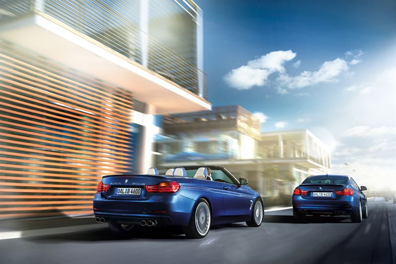 The new ALPINA B4 Bi-Turbo can be specified as a Coupe or a Convertible These cars are in the signature ALPINA Blue